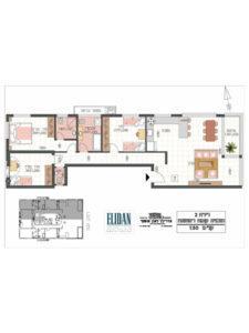 דירת 4 חדרים 106 מטר פלוס 5 מטר מרפסת בקומה 1