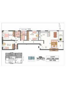 דירת 4 חדרים 106 מטר פלוס 5 מטר מרפסת בקומה 4