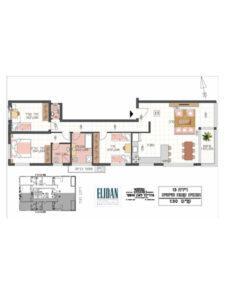 דירת 4 חדרים 106 מטר פלוס 5 מטר מרפסת בקומה 6