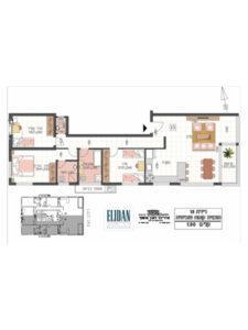 דירת 4 חדרים 106 מטר פלוס 5 מטר מרפסת בקומה 7