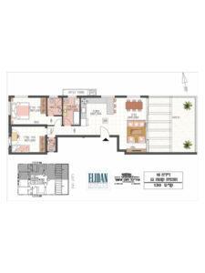 פנטהאוז 3 חדרים 80 מטר פלוס מרפסת גג 32 מטר בקומה 8